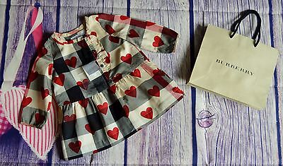New!!! Burberry Baby Girls Designer Checked Dress With Love Hearts RRP £155
