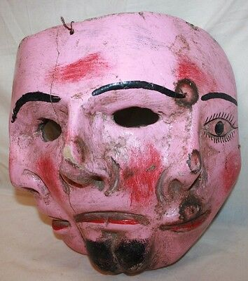 Antique Hand Carved Wooden Folk Art Ceremonial Mask Oaxacan