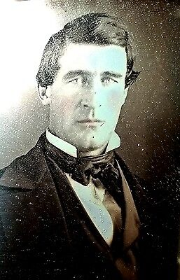 SEALED 6th tinted portrait daguerreotype of RUGGEDLY HANDSOME middle aged MAN