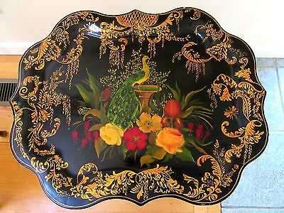 Vintage Hand Painted Tole Tray Floral Country Folk Art Serving Country Primitive