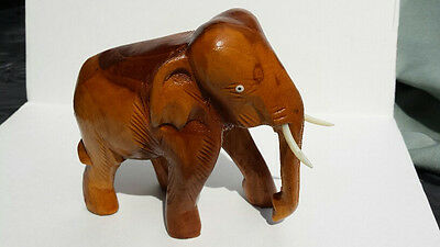 Vintage Hand Carved Teak Wood Elephant from Thailand-Approx. 30 Years Old