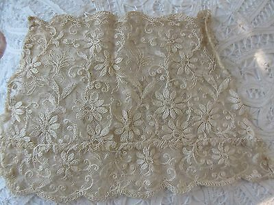 Antique Tambour Lace Floral Panel French Doll Dress Trim, Scrap Book, Crafts
