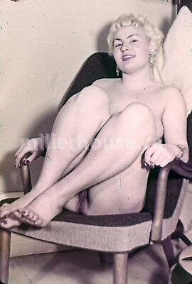 1950's Busty Blonde Original Nude Pin-Up 35mm Film Transparency Slide Photo #6