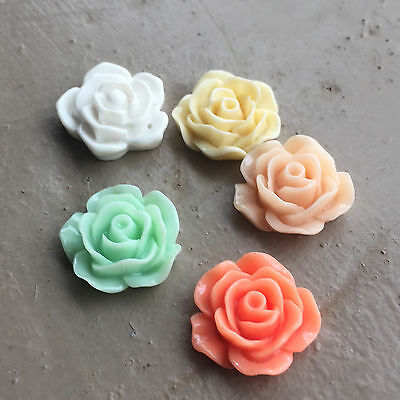 Acrylic Flower Charms Cabochons (5 colours) 20mm dia
