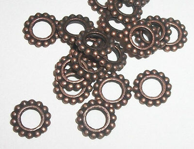 50 Antique copper pewter 9x2mm rondelles large hole spacer beads - 50 pc (9122)