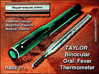 TAYLOR BINOCULAR  Patented & Certified ORAL FEVER  THERMOMETER w /bakelite case