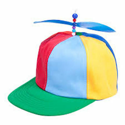 Supreme Helicopter Funny Funky Rainbow Circus Clown Hat Cap Fancy Dress Item New