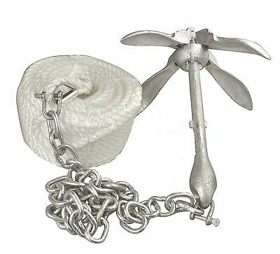 Folding Grapnel Anchor Kit Small Galvanised 1.5Kg Anchor 30M Rope 1M Chain