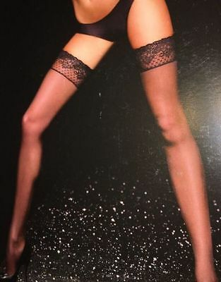 NWT Victorias Secret Lace Top Thigh High Stockings Black size B