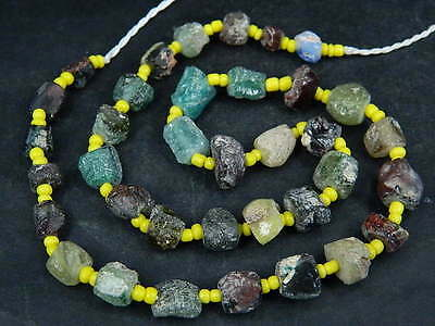Ancient Fragment Glass Beads Strand Roman 200 BC  #BE1339
