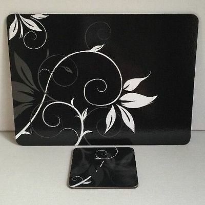 Black & White Contemporary Floral Placemats & Coasters 4 Table Mats 4 Coasters