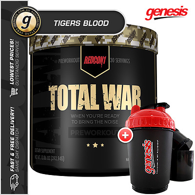 Total War by Redcon1 *30 SRV TIGERS BLOOD* High Stim Pre-Workout + FREE Gift!