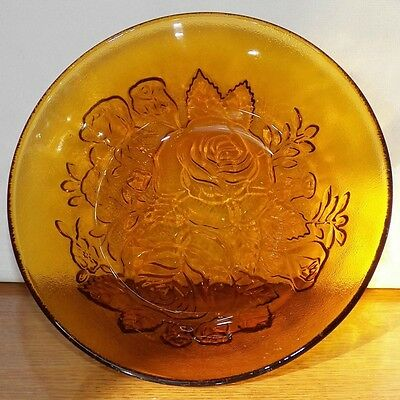 Excellent Frosted Elevated Embossed Firna Indonesia Amber Bowl With Rose Designs