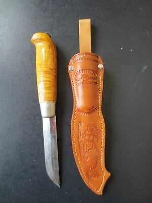 Martiini Finland Fixed Blade Knife Engraved & Signed Wood Handle Leather Sheath