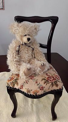 Large Dolls Lounge Chair Wood & Tapestry Seat