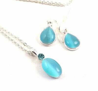 Blue Glass Necklace Earrings SET Silver Tone B728