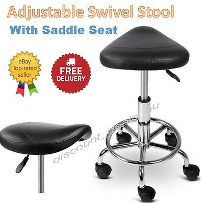 Adjustable Swivel Stool Black Salon Hairdresser Seat Gas Lift Medical Clinic