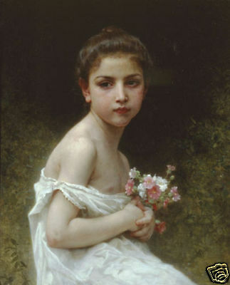 """Art Repro oil painting:""""Little girl have Flower at canvas"""" 24x36 Inch"""