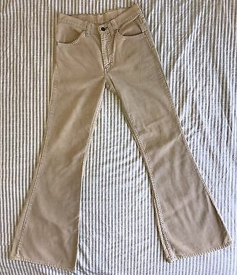 Vintage Levi's 684 Cream Corduroy Pants Cords 646 501 Bell Bottoms LVC 28 x 34