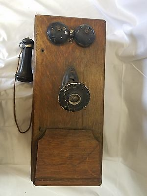 Antique KELLOGG Oak Case Wall Hand Crank Telephone
