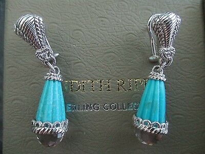 Judith Ripka Carved Turquoise Sterling Silver Crystal Diamonique Earrings Bx/Pch