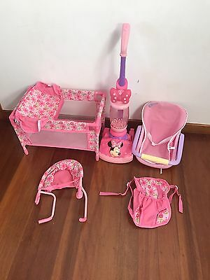 Dolls Accessory Set Cot Vacuum Doll Carrier