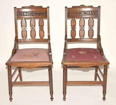 PAIR OF WALNUT EASTLAKE CARVED SIDE CHAIRS WITH ORIGINAL UPHOLSTERED ... Lot 406