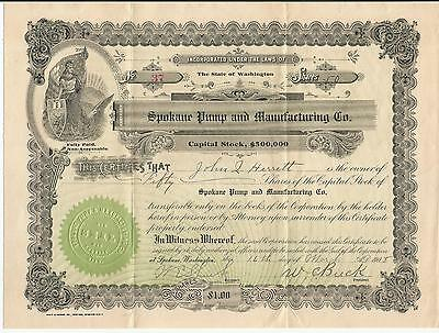 SPOKANE PUMP & MANUFACTURING Co. 1908 50 SHARES Stocks