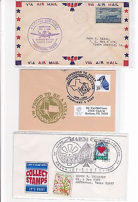 "Jefferson City TEXAS ""Caddo Lake"" 1948 Airport Dedication + 2 Other Covers !!"