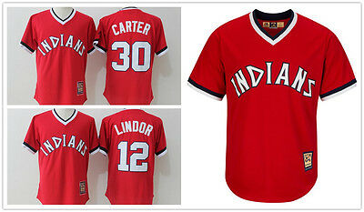 Cleveland Indians Red Cooperstown Pullover Cool Base Jersey #12 Lindor 30 Carter