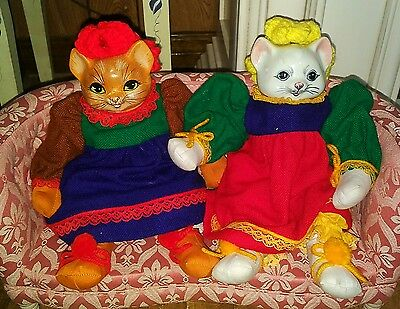 """2 VINTAGE ORMA DOLL PORCELAIN HEAD CAT DOLL Hand Made in Thailand 13"""" TALL"""