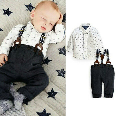 Kids Baby Boy Toddler T-shirt + Bib Pants Overall Clothes Outfits 2pcs Set 3M-2Y