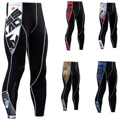 Mens Compression Workout Tights Skin Baselayer Long Pants Black Sports Trousers