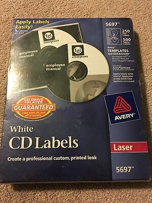 NIP Avery White CD Labels 250 Disc Labels and 500 Case Spine Labels (Laser 5697)
