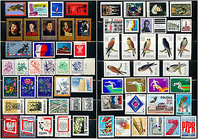 Poland Collection of 65 MNH Stamps - 1973 to 1975 - Complete Sets