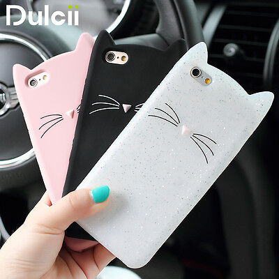 Cute 3D Animal cat soft silicone case cover phone For iphone 6/6S/7/8/X Plus