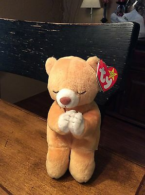 Ty Beanie Baby HOPE Praying Bear Original with tag errors