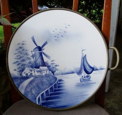 Vintage Blue & White Porcelain Tray Delft Type Windmill Scene German?
