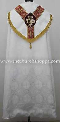 NEW White Cope & Stole Set with IHS embroidery,capa pluvial,chape,far fronte