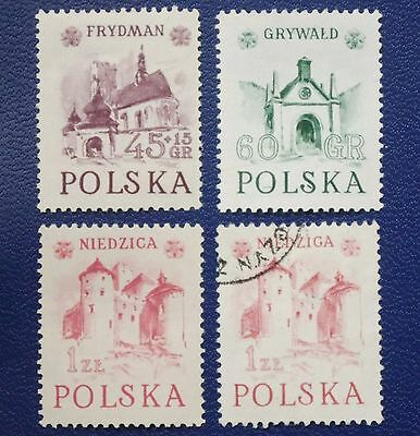 Poland -1952 HERITAGE BUILDINGS Set of 3 MNH + NIEDZIGA ERROR Used