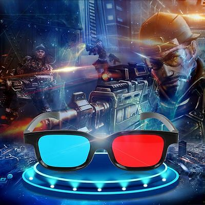 Stereo Universal Dimensional Anaglyph Movie Red Blue 3D Glasses Black Frame
