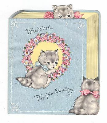 Vintage Wallace Brown Unused Birthday Greeting Card Cats Inside Book