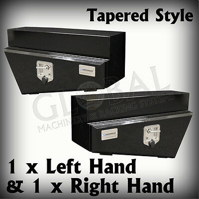 1 x Pair of Black Tapered Underbody Under Tray Steel Ute 4x4 Tool Boxes TB0050