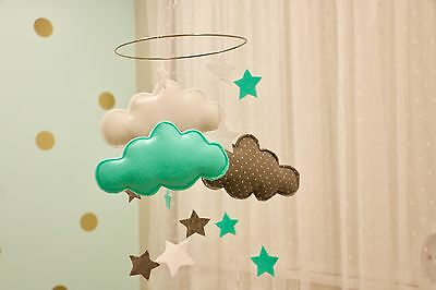 Felt Baby Mobile Nursery Room Decor/ Mint Green, White And Spotty Gray