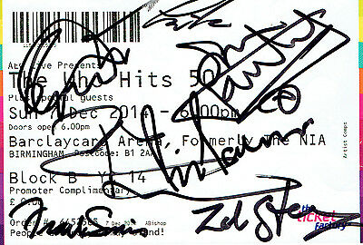 The Who Fully Hand Signed Autographed Used 2014 Promoter Comp Concert Ticket