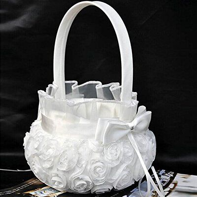 AU Wedding Party Flower Girl Basket Satin Bowknot Wedding Petals Flower Basket