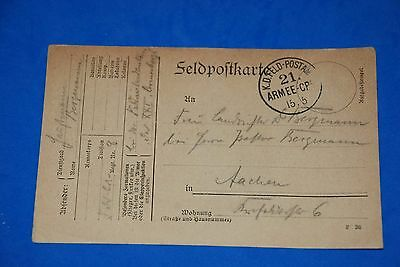 1918 World War German Captain Field Post Vintage Card old Letter WWI Antique c94