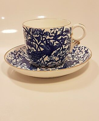 Royal Crown Derby blue and white cup and saucer