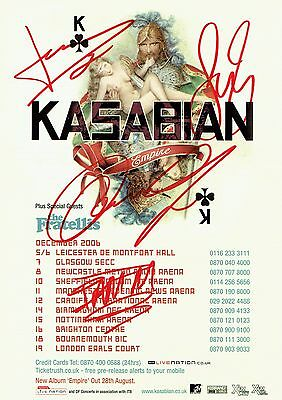 Kasabian Fully Hand Signed Autographed Empire Tour Flyer - Indie