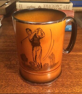 VINTAGE GOLF-ING PORCELAIN TANKARD by ARTHUR WOOD Royal Bradwell BEER England